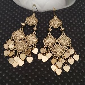 Boho style gold tone earrings